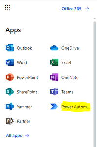 Click on Power Automate